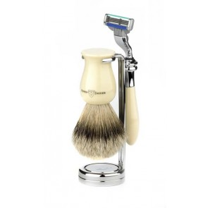 3 Piece Plaza Shaving Set, Super Bagder, by Edwin Jagger - Black Marble