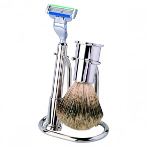 Stylish 3 Piece Chrome Shaving Set by Erbe