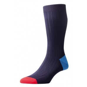 Pantherella Socks - Contrast Navy Blue
