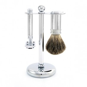 3 Piece Safety Razor Shaving Set by Edwin Jagger - Chrome Lined