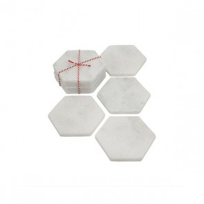 Stoned marble white coaster hexagon