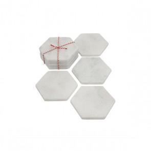 Stoned marble white coaster hexagon