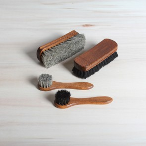 Deluxe set of shoe care brushes, 100% horsehair