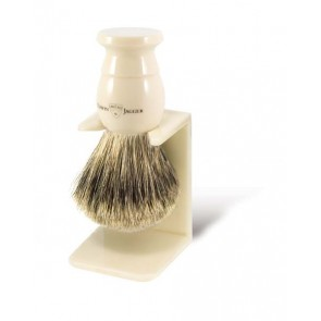 Best Badger Shaving Brush with Drip Stand by Edwin Jagger – Ivory Coloured XL