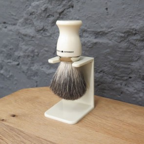 Distinctly Different Pure Badger Shaving Brush with Drip Stand – Ivory Coloured M